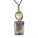Tabra Amulet Cord Necklace-Bone Lady Buddha & Garnet