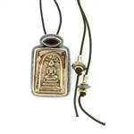 Tabra Bronze Buddha & Garnet Adjustable Necklace