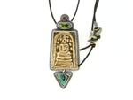 Tabra Bronze Buddha & Paua Shell Adjustable Necklace