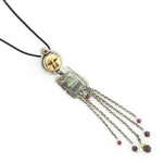 Tabra Amulet Cord Necklace-Bronze Face & Chain Dangle, Paua & Garnet