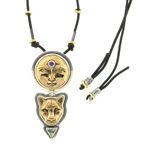 Tabra Bronze Moon Goddess & Jaguar Adjustable Necklace
