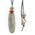 Tabra Amulet Cord Necklace-Greek Key Emboss, Jasper & Smokey Quartz