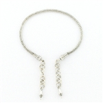 AK23 Tabra Connector Anklet Chain-Silver Woven