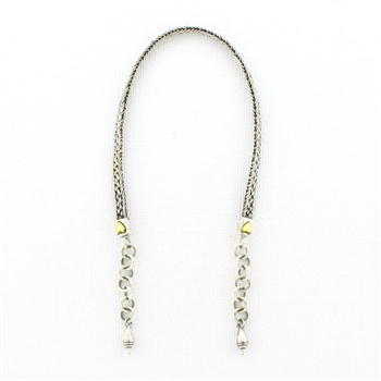 AK28 Tabra Connector Anklet Chain-Silver with Bronze Heart