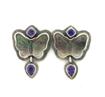 Tabra Mother Of Pearl Butterfly & Amethyst Earrings