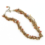Tabra Bali Beaded Carnelian, Pearl & Gold Seed Beads Necklace