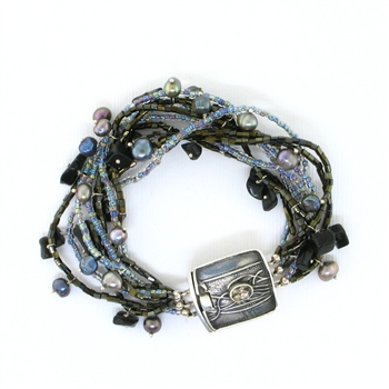 Tabra Bali Beaded Grey Pearl, Onyx Twisted Bracelet