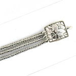 Tabra Connector Bracelet Chain-Silver 3-Strand Floral CBR33