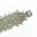 Tabra Connector Bracelet Chain-Silver Wide-Mesh Dangle Greek Key CBR35