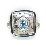 Tabra Silver Stars Embossed Charm with Blue Topaz