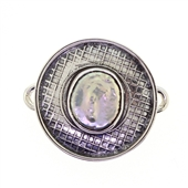 Tabra Pearl Charm Round Silver Emboss