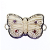Tabra Bone Butterfly with Amethyst & Garnet Charm