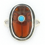 Tabra Amber Scarab Charm with Turquoise