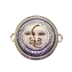 Tabra Bone Sun Moon Set in Silver & Bronze Emboss