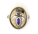 Tabra Bronze Ladybug Embossed Charm with Amethyst