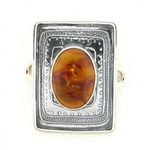 Tabra Amber Charm Set in Sterling Emboss