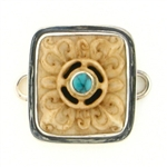 Tabra Carved Bone & Turquoise Charm Intricate Design