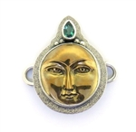 Tabra Bronze Moon Goddess & Green Quartz Charm