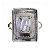 Tabra Pearl Rectangle Sterling Emboss Charm