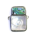 Tabra Paua Shell Black Mother of Pearl Swirl Charm