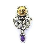Tabra Floral Silver Casting & Amethyst Necklace Charm