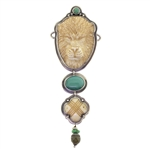 Tabra Bone Carved Lion and Turquoise Necklace Charm