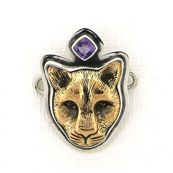 Tabra Bronze Jaguar Charm with Faceted Amethyst
