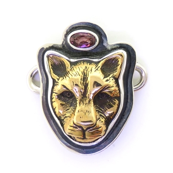 Tabra Bronze Jaguar Faceted Garnet Charm (Small)