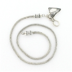 CNK22 Tabra Necklace Chain Silver with Triangle Dangle & Hook Clasp