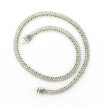 CNK25 Tabra Necklace Chain Silver Narrow Flat Woven