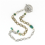 CNK31 Tabra Necklace Chain Silver & Bronze Malachite, Bone, 17""