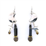 Tabra Crescent Moon Black Onyx Earrings On Wires E-13