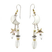 Tabra Crescent Moon Two Tone Quartz Earrings on Wires E-14