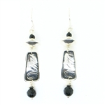 Tabra Black Onyx & Silver Leaf Earrings