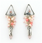 Tabra Pink Coral, Pearl and Rose Quarz Cluster Earrings