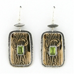 Tabra Peridot Bronze Emboss Earrings