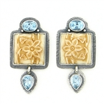 Tabra Bone Floral Earrings with Blue Topaz