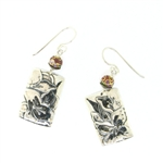 Tabra Cloisonne Sterling Silver Floral Embossed Earrings