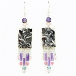 Tabra Amethyst, Apetite & Pink Quartz Dangle Earrings