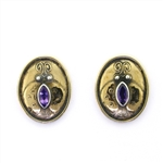 Tabra Brone Ladybug Earrings with Amethysts ND315