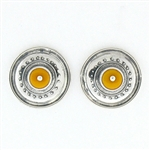 Tabra Amber in Silver Emboss Earrings on Posts