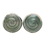 Tabra Mother of Pearl Round Swirl Earrings on Posts