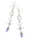 Tabra Amethyst Crystal Point & Pearl Earrings