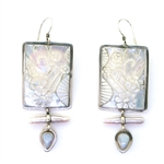 Tabra Mother of Pearl Carvings, Freshwater Pearl Earrings