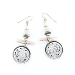 Tabra  Mother of Pearl Carving & Pearl Earrings on Wires