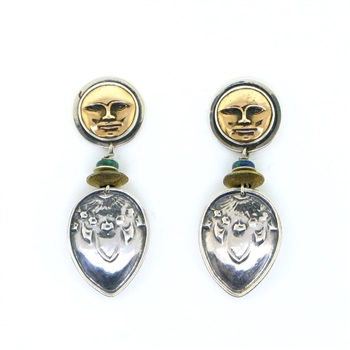 Tabra Bronze Sun God Silver Drop Earrings
