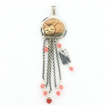 Tabra Pink Coral & Painted Bone Cat Chain Link Pendant