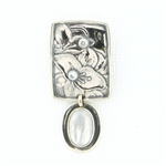 Tabra Mother of Pearl Floral Silver Emboss Pendant