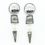 Tabra Ethnic Emboss & Clear Quartz Earrings