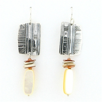 Tabra Sterling Silver Mother of Pearl Earrings on Wires